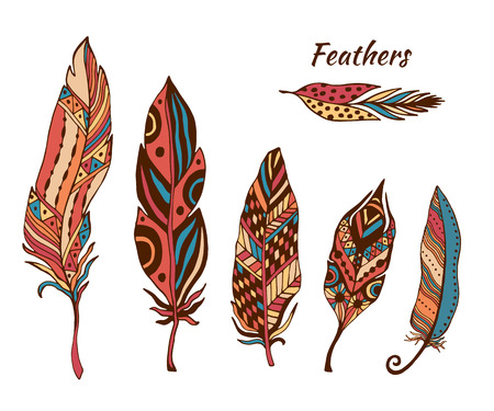 Hand drawn boho feathers vector collection. Set of doodle ethnic color feathers. Cute zentangle feather for your design. For greeting card and postcard, henna and tattoo design