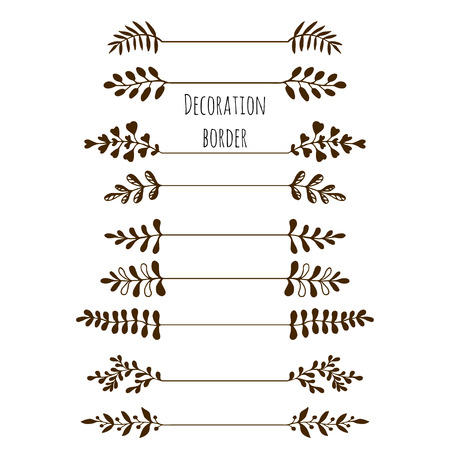 Illustration for Decorative borders. Hand drawn vintage border set with leaves, branches. Vector - Royalty Free Image