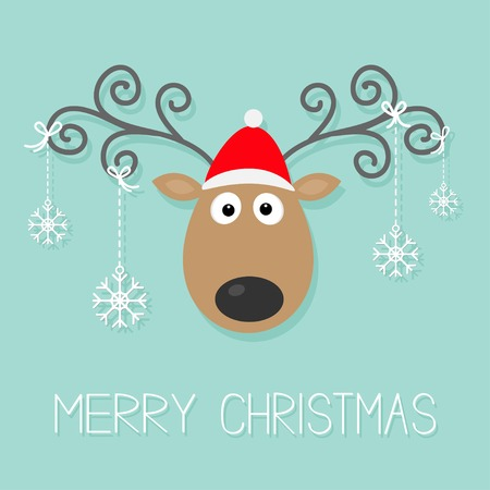 Illustration pour Cute cartoon deer with curly horns, red hat and hanging snowflakes.  - image libre de droit