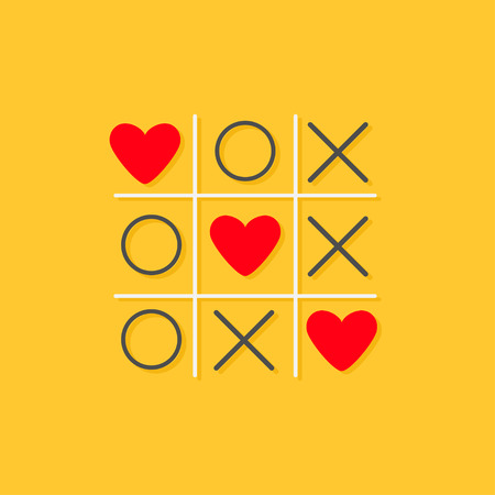 Photo pour Tic tac toe game with cross and three red heart sign mark Love card Flat design Yellow background Vector illustration - image libre de droit