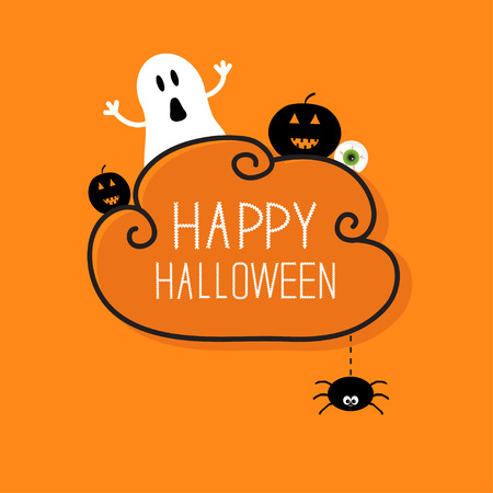 Ghost, pumpkin, eyeball, hanging spider. Happy Halloween card. Cloud frame Orange background Flat design.  Vector illustration