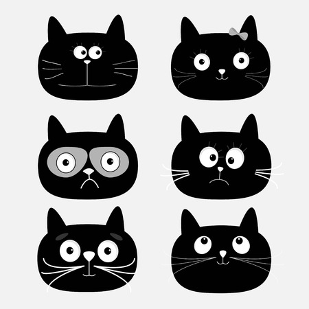 Ilustración de Cute black cat head set. Funny cartoon characters. White background. Isolated. Flat design. Vector illustration - Imagen libre de derechos