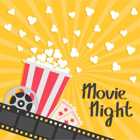 Ilustración de Popcorn popping. Big movie reel. Ticket Admit one. Three star. Cinema movie icon in flat design style. - Imagen libre de derechos