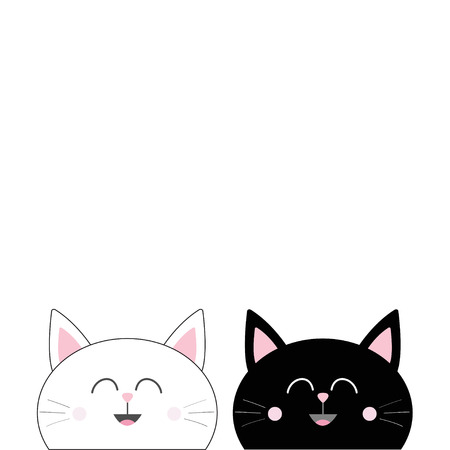 Illustrazione per Black White Cat head couple family icon. Cute funny cartoon smiling character. Happy Valentines day Greeting card template. Kitty Whisker Baby pet collection background. Isolated. Flat design. Vector. - Immagini Royalty Free