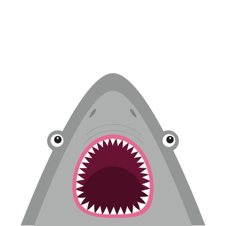 Ilustración de Shark head face with big open mouth and sharp teeth. Cute cartoon animal character. Baby card. Sea ocean wild animal. Sticker print template. Flat design. White background Isolated Vector illustration - Imagen libre de derechos