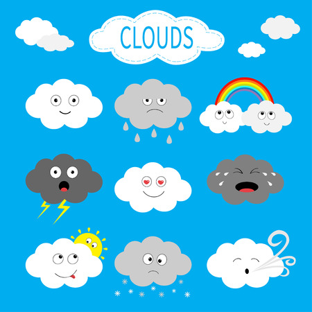 Cloud emoji icon set. White gray color. Fluffy clouds. Sun, rainbow, rain drop, wind, thunderbolt storm lightning. Cute cartoon cloudscape. Different emotion. Flat design. Blues sky background Vector