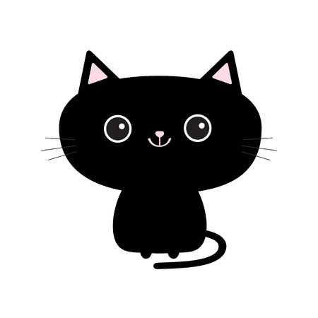 Illustrazione per Cute black cat icon. Funny cartoon character. Tail, whisker, big eyes. - Immagini Royalty Free