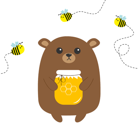 Ilustración de Grizzly brown bear holding honey jar with honeycomb. Flying bee insect. Dash line track. Cute cartoon funny character. Forest baby animal collection White background Isolated Flat design Vector - Imagen libre de derechos