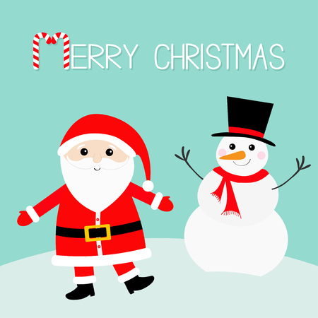 Illustration pour Snowman Santa Claus wearing red hat, costume, big beard, belt buckle. Merry Christmas. Candy cane. Cute cartoon kawaii funny character with open hand. Blue snow background. Greeting card. Vector. - image libre de droit