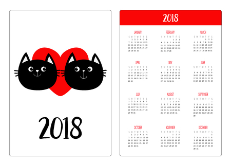 Illustrazione per Pocket calendar 2018 year. Week starts Sunday. Two black cat head couple family. Red heart. Cute cartoon character. Happy Valentines day. Kitty Baby pet collection White background. Flat design Vector - Immagini Royalty Free