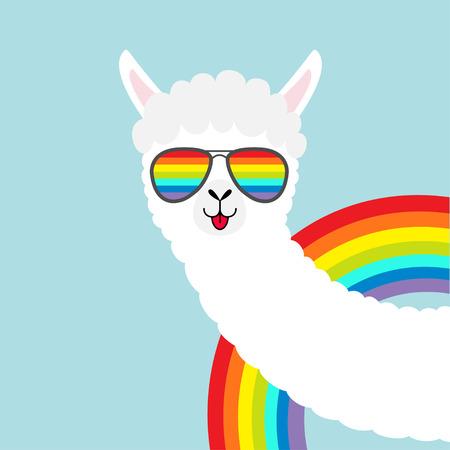 Ilustración de Llama alpaca animal face in rainbow glassess. Fluffy hair fur. Cute cartoon funny kawaii character. T-shirt, greeting card, poster print. Gay symbol collection. Flat design. Blue background. Vector - Imagen libre de derechos