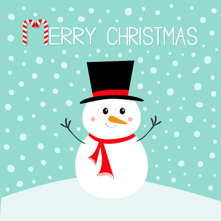 Illustration pour Merry Christmas. Snowman standing on snowdrift. Carrot nose, black hat. Happy New Year. Cute cartoon funny kawaii character. Greeting card. Blue winter snow background. Flat design Vector illustration - image libre de droit