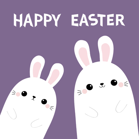 Happy Easter. Two rabbit bunny in the corner. Friends forever. Cute cartoon kawaii funny baby character set. Farm animal. Violet pastel background. Flat design Vector illustration