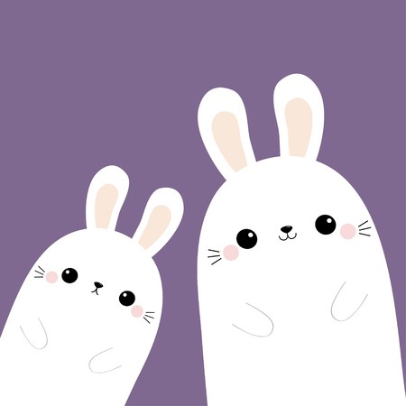 Two rabbit bunny in the corner. Happy Easter. Friends forever. Cute cartoon kawaii funny baby character set. Farm animal. Violet pastel background. Flat design. Vector illustration