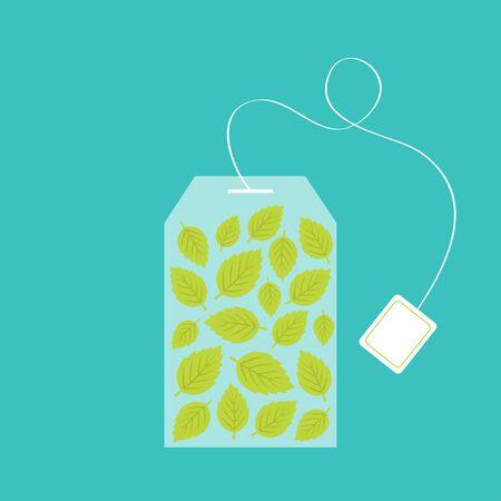 Ilustración de Tea bag herbal mint leaf set inside. Teabag packaging with label icon. Top wiew. Flat design. Isolated. Green background. Vector illustration - Imagen libre de derechos