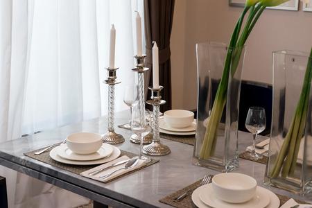 Ceramic tableware on the marble worktop
