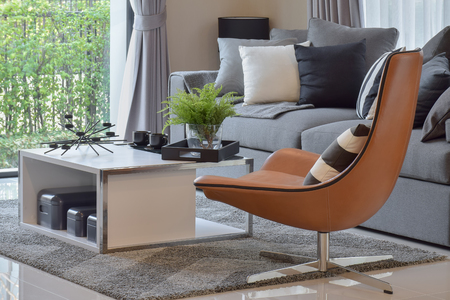 Photo for living room with plant in vase and black pattern pillows on modern leather chair - Royalty Free Image