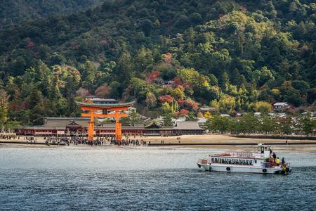 Photo for Great floating gate (O-Torii) on Miyajima island near Itsukushima shinto shrine - Royalty Free Image
