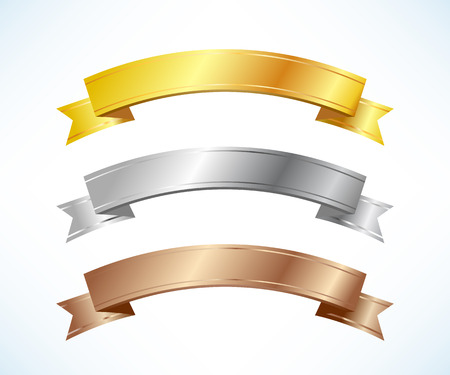 Illustration for Gold, silver and bronze ribbons set - Royalty Free Image