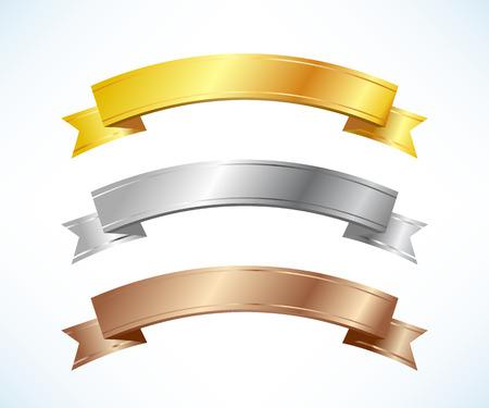 Illustration pour Gold, silver and bronze ribbons set - image libre de droit