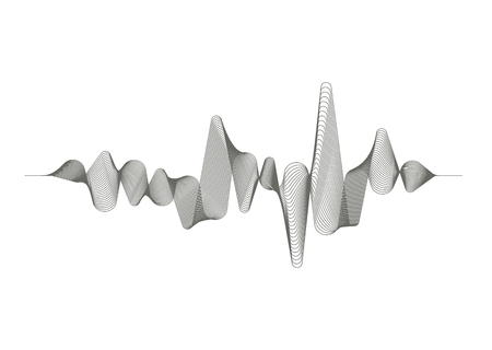 Ilustración de Monochrome sound wave on white background. Audio digital equalizer technology. Musical pulse. Vector music wave. - Imagen libre de derechos