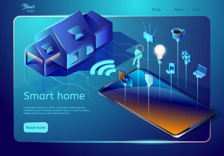 Ilustración de Smart home system web page template. Isometric vector illustration. Abstract design concept introducing system for controllingtemperature, multi-media, security, air quality - Imagen libre de derechos