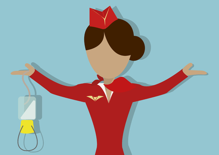 Illustration pour The Stewardess shows  how to use the oxygen mask in case of decompression. Vector illustrationon on blue background.Horizontal arrangement - image libre de droit