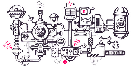 Illustration pour Vector industrial illustration background of the operating mechanism. Complicated mechanism at work. Line Art - image libre de droit