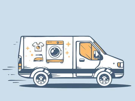 Illustration pour Vector illustration of van free and fast delivering washing machine to customer on blue background. Line art design for web, site, advertising, banner, poster, board and print. - image libre de droit