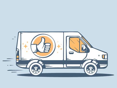 Illustration pour Vector illustration of van best delivering goods to customer on blue background. Line art design for web, site, advertising, banner, poster, board and print. - image libre de droit