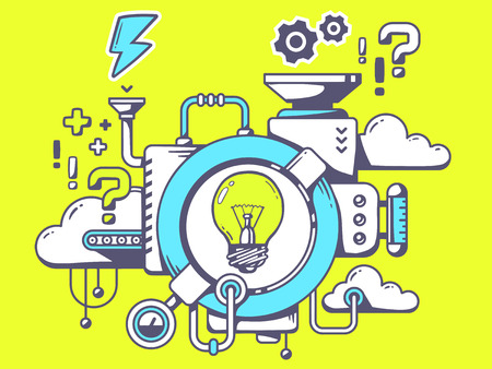 Ilustración de Vector illustration of mechanism to come up with the idea with light bulb and relevant icons on green background. Line art design for web, site, advertising, banner, poster, board and print. - Imagen libre de derechos