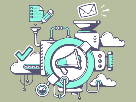 Illustration pour Vector illustration of mechanism with megaphone and office icons on green background. Line art design for web, site, advertising, banner, poster, board and print. - image libre de droit
