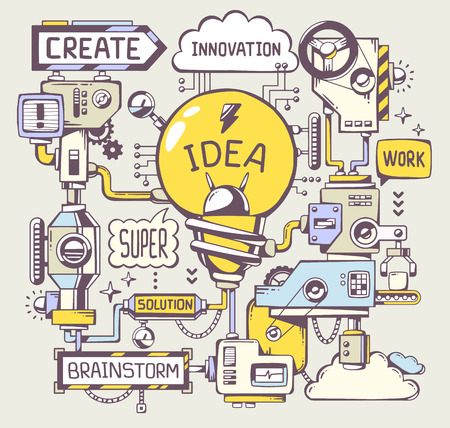 Ilustración de Vector illustration of successful model work of yellow light bulb with key word on a gray background. Line art hand draw design for web, site, advertising, banner, poster, board and print. - Imagen libre de derechos