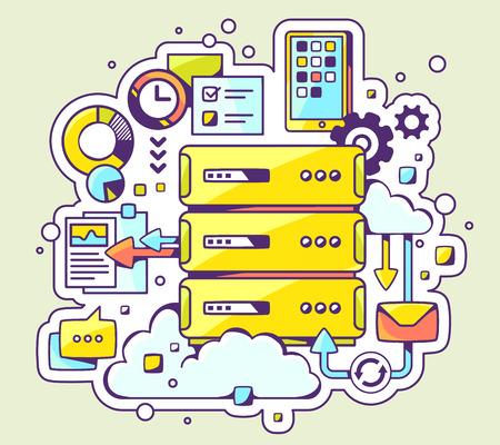 Ilustración de Vector color illustration of server operation on light background. Hand draw line art design for web, site, advertising, banner, poster, board and print. - Imagen libre de derechos