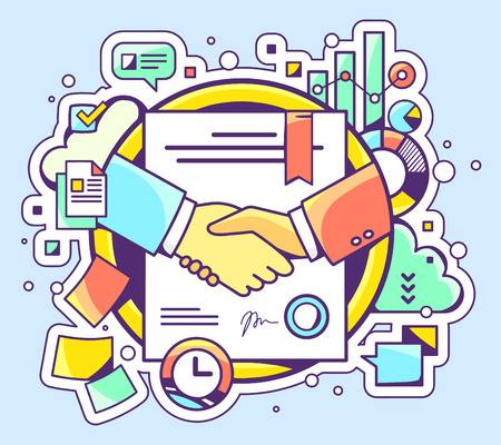 Illustration pour Vector color illustration of handshake with contract signed and sealed and graphs on blue background. Hand draw line art design for web, site, advertising, banner, poster, board and print. - image libre de droit