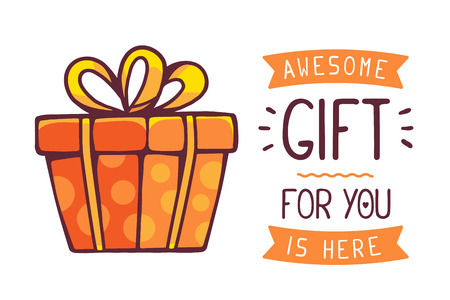 Ilustración de illustration of great red gift box with title awesome gift for you is here on white background. Hand drawn line art design for web, site, advertising, banner, poster, board and print. - Imagen libre de derechos