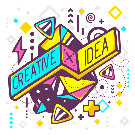 Ilustración de Vector illustration of bright creative and idea quote on abstract background. Hand draw line art design for web, site, advertising, banner, poster, board and print. - Imagen libre de derechos