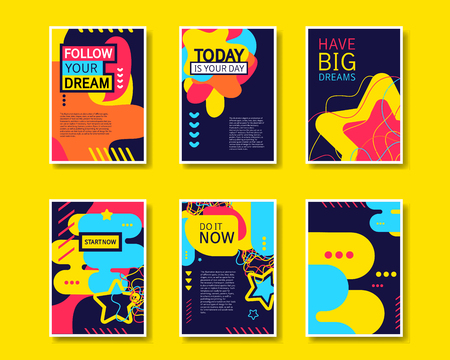 Illustration pour Vector colorful design abstract modern style template collection for banner, flyer, placard, brochure and poster on yellow background. - image libre de droit