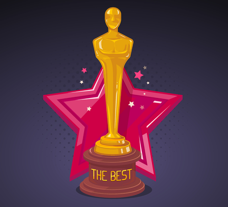 Illustration for Vector illustration of yellow cinema award with red big star on dark background. Art design for web, site, advertising, banner, poster, flyer, brochure, board, paper print. - Royalty Free Image