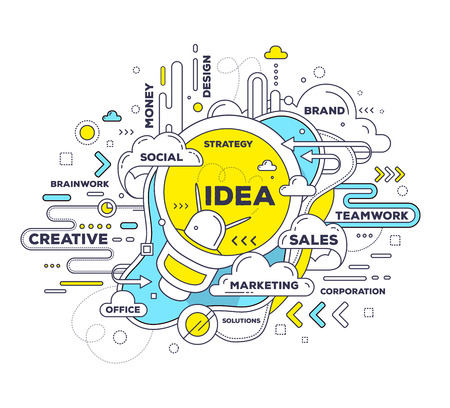 Illustration for Vector creative illustration of creative idea with light bulb and tag cloud on white background. Idea technology concept. Hand draw thin line art style monochrome design with light bulb for create idea and brainstorm theme - Royalty Free Image