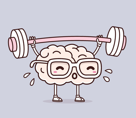 Ilustración de Vector illustration of retro pastel color pink brain with glasses lifting weights on gray background. Exercising cartoon brain concept. Doodle style. Thin line art flat design of character brain for sport, training, education theme - Imagen libre de derechos