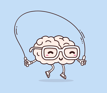 Ilustración de Vector illustration of retro pastel color smile pink brain with glasses jumping rope on blue background. Fitness cartoon brain concept. Doodle style. Thin line art flat design of character brain for sport, training, education theme - Imagen libre de derechos