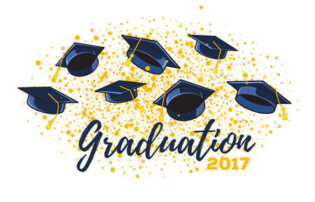 Illustration for Vector illustration of graduate caps and confetti on a white background. Caps thrown up. Congratulation graduates 2017 class of graduations. Design of greeting, banner, invitation card for the graduation party with hat, lettering - Royalty Free Image