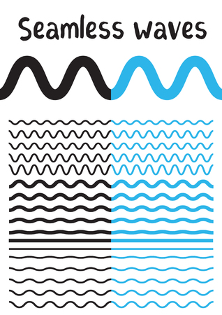 Ilustración de Collection of different wave isolated on white background. Vector big set of seamless wavy - curvy and zigzag - criss cross horizontal black and blue lines. Graphic design elements variation zigzag and wave line borders. Wave line for design of decorative - Imagen libre de derechos