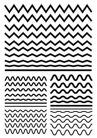 Ilustración de Vector big set of seamless wavy - curvy and zigzag - criss cross horizontal thick lines. Graphic design elements variation zigzag and wave line borders. Collection of different sharp and soft wave isolated on white background. Wave line for design of deco - Imagen libre de derechos