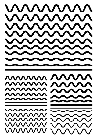 Ilustración de Collection of different soft wave isolated on white background. Graphic design elements variation zigzag and wave line borders. Vector big set of seamless wavy - curvy and zigzag - criss cross horizontal thick lines. Wave line for design of decorative bor - Imagen libre de derechos