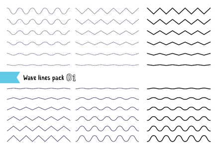 Illustration for Vector big set of wavy - curvy and zigzag - criss cross horizontal lines. Collection of different wave isolated on white background. Graphic design elements variation dotted line and solid line. Wave line for design of decorative border, divider - Royalty Free Image