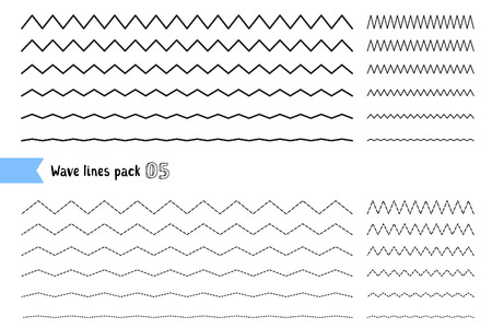 Illustration pour Vector collection of different thin line wide and narrow wavy line on white background. Big set of wavy - curvy and zigzag - criss cross horizontal lines. Graphic design elements variation dotted line and solid line. Wave line for design of decorative bor - image libre de droit