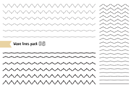Illustration for Vector big set of graphic design elements variation wide wavy line. Wavy - curvy and zigzag - criss cross unusual horizontal lines. Collection of different thin line wave isolated on white background. Wave line for design of decorative border, divider - Royalty Free Image