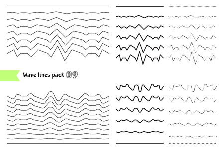 Illustration for Vector collection of different wave with a very strong vibration amplitude. Wave line for design of decorative border, divider. Big set of curved horizontal lines. Graphic design elements variation dotted line and solid line - Royalty Free Image
